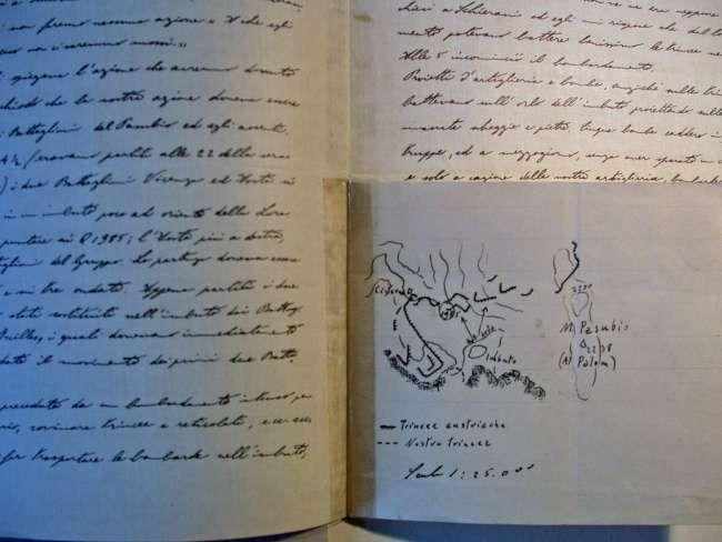 Lettera di Testa Fochi con schizzo topografico su azione del 16 settembre 1916 al Pasubio.