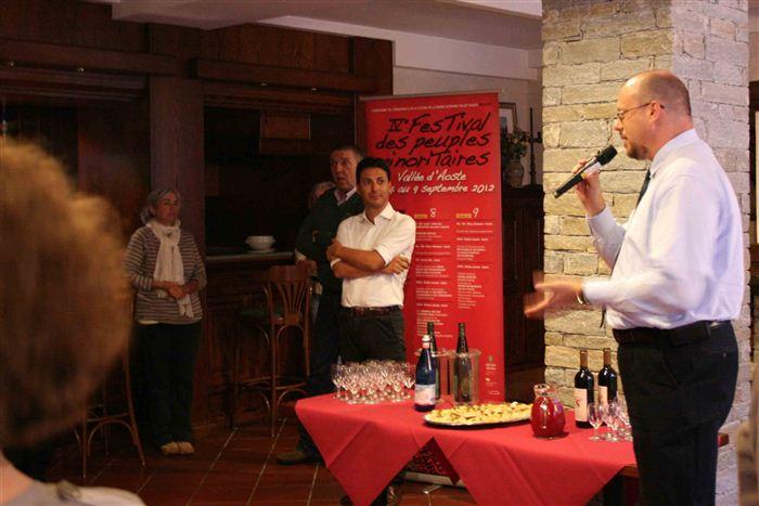 Alessandro Celi, accueil des délégations des Peuples frères, Valsavarenche