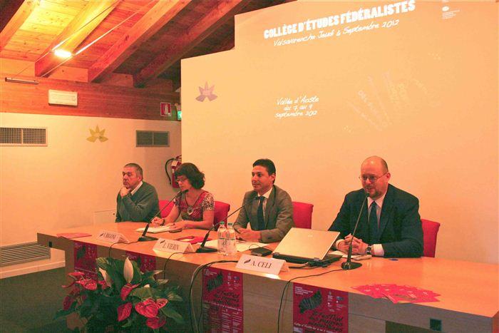 Pino Dupont, Isabelle Rigoni, Laurent Viérin, Alessandro Celi, Collège d'études fédéralistes, Valsavarenche
