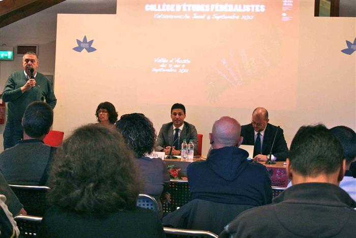 Pino Dupont (debout), Isabelle Rigoni, Laurent Viérin, Alessandro Celi, Collège d'études fédéralistes, Valsavarenche