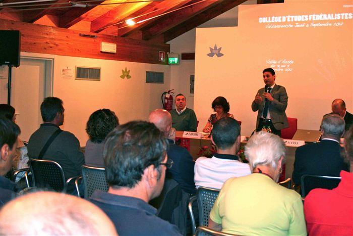 Pino Dupont, Isabelle Rigoni, Laurent Viérin (debout), Alessandro Celi, Collège d'études fédéralistes, Valsavarenche