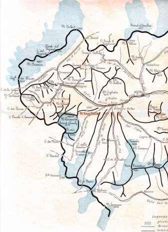 Carta elaborata dal Genio militare relativa alle direttrici militari delle Alpi Occidentali